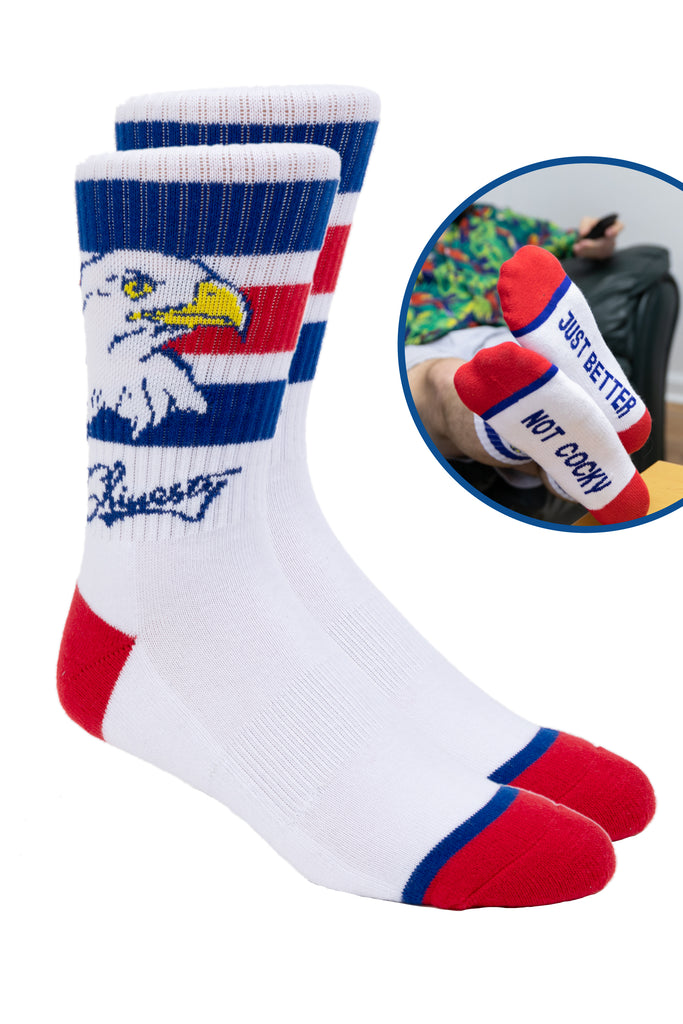 The Not Cocky Just Better Red, White and Blue Eagle Flag Socks