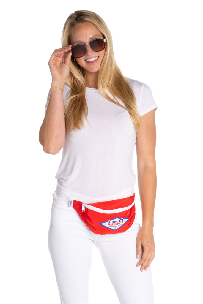 Red USA fanny pack