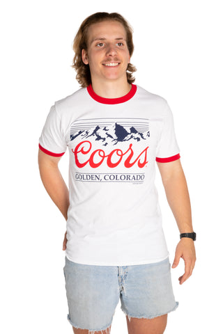 White and red vintage coors logo t shirt