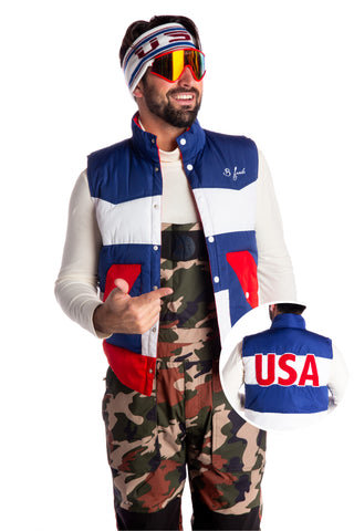 Men's USA print down vest