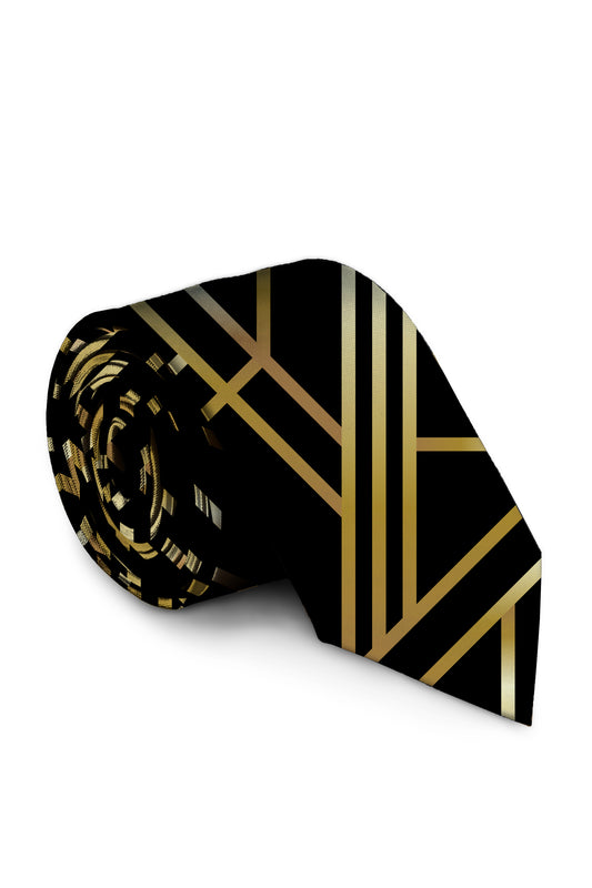 Gold and black art deco tie for men