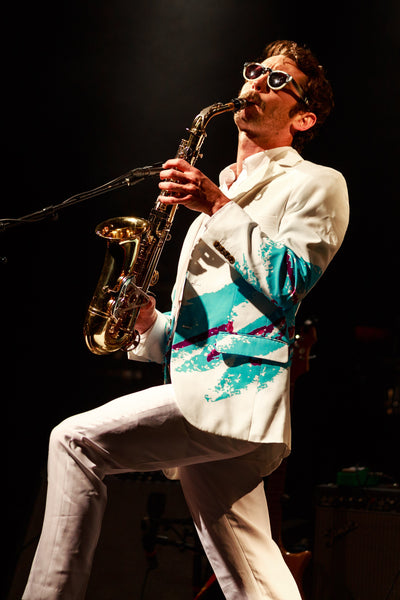 Mens jazz print party suit