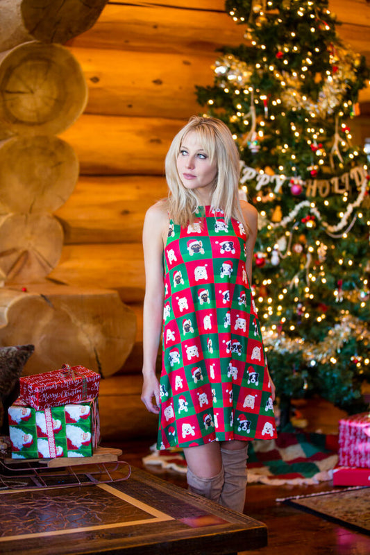 Doggy dog Print and Red Plaid Reversible Holiday Dress