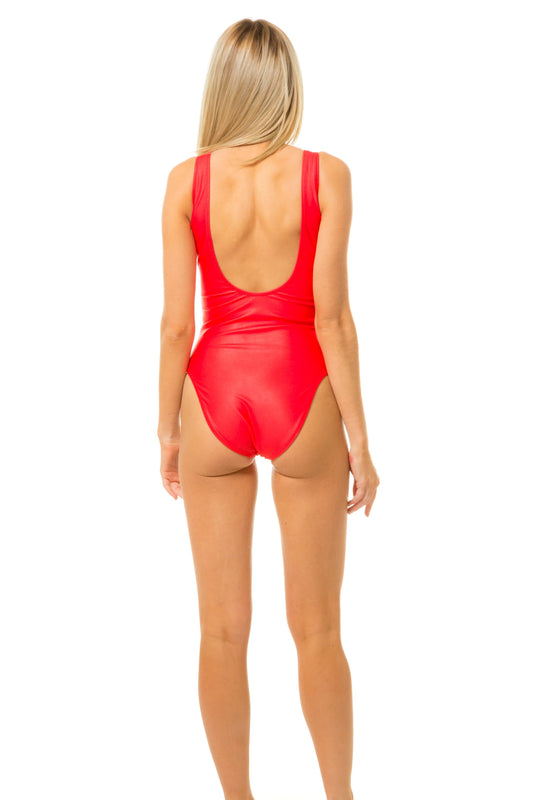 low cut back of red one piece bathing suit