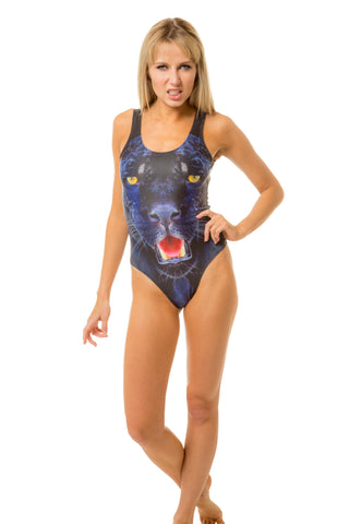 Women's roaring panther one piece swimsuit bodysuit