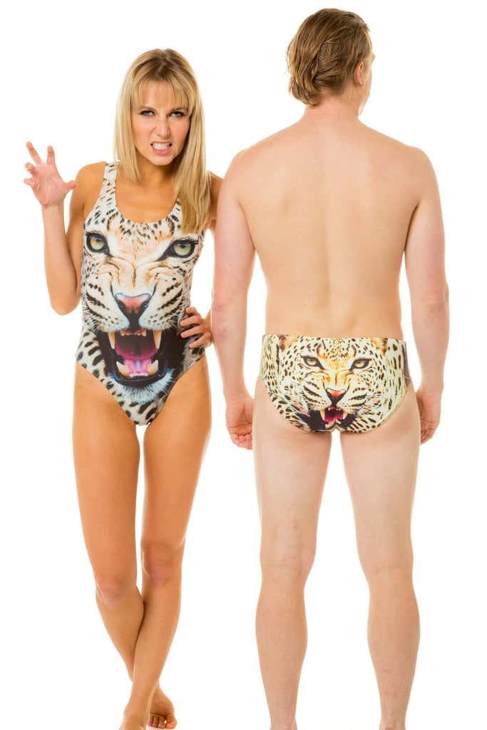 matching gals and guys leopard print swimwear