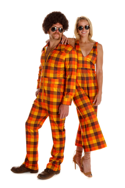orange plaid womens jumpsuit