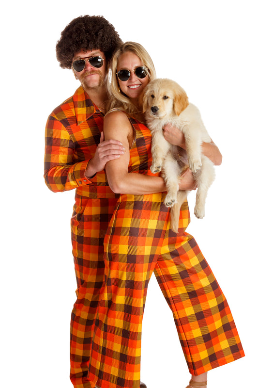 orange plaid sexy jumpsuit
