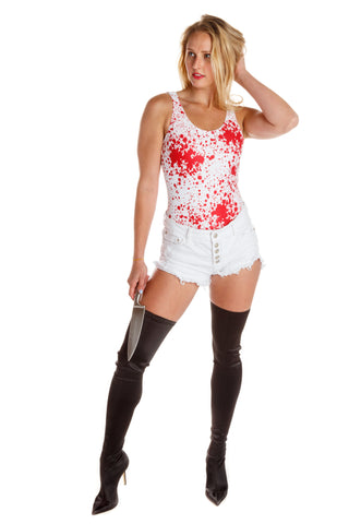 blood splatter sexy one piece swimsuit