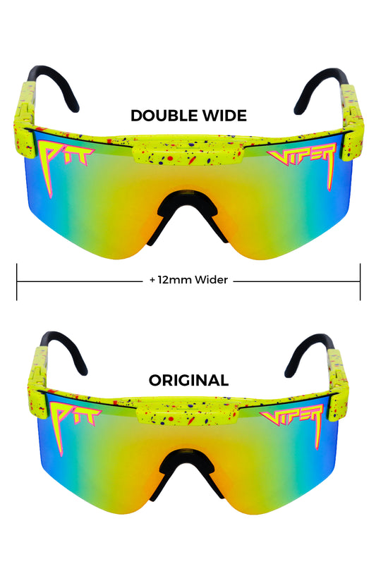 Double wide green pit viper sunglasses