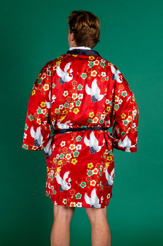 All doved up men's silky smooth kimono robe