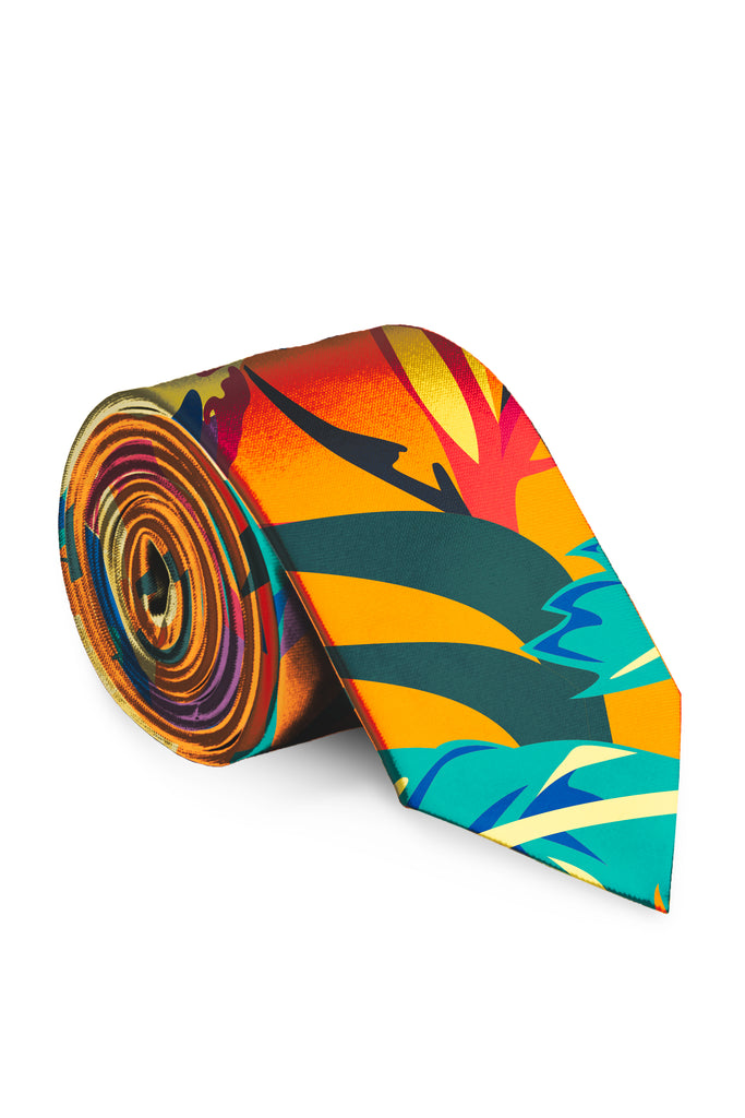 The Cruise Ship Casanova | Orange Hawaiian Tie