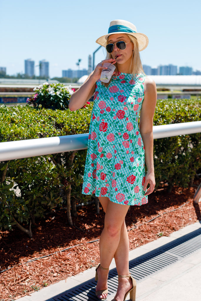 The Roses On Gingham Rose | Print Derby Day Dress