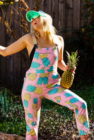 The Fineapples Women's Pink Pineapple Overalls