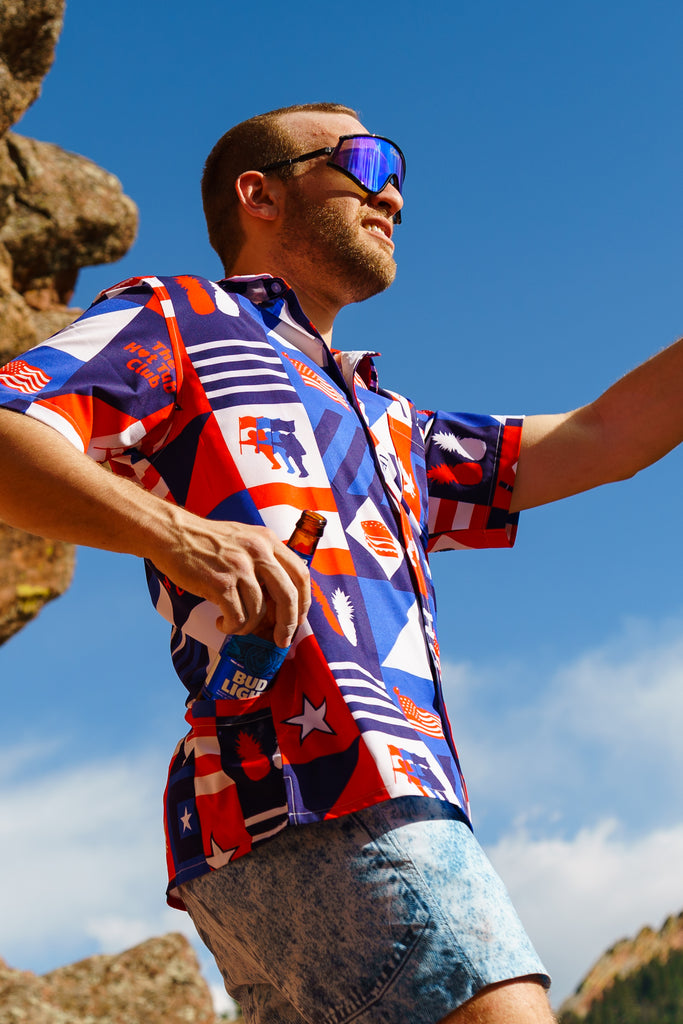 The Patchwork Patriot | USA Hawaiian Shirt