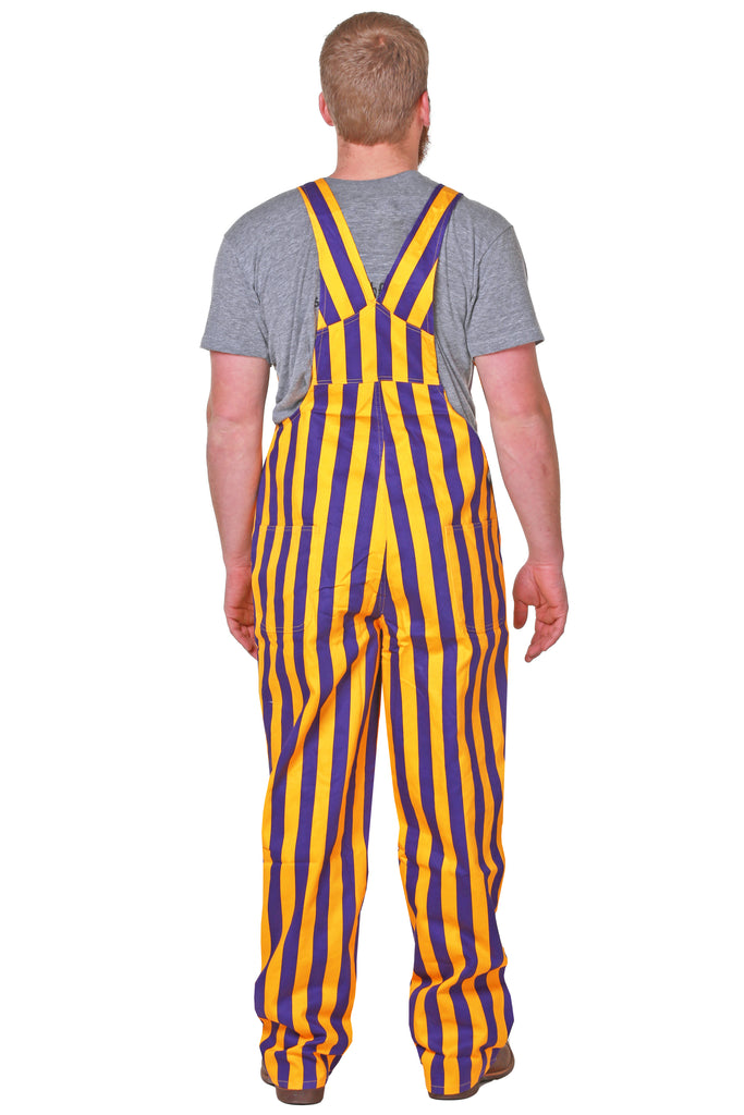 Mens Purple Striped Overalls back view
