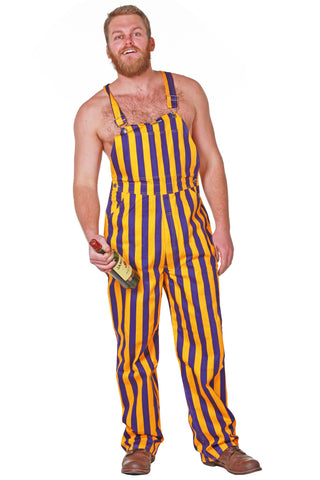 Mens Purple Yellow Striped Overalls