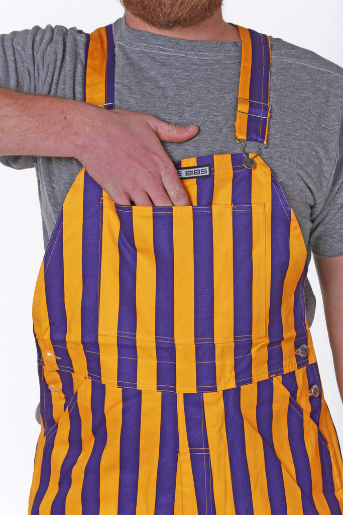 Guys Purple Yellow Striped Mardi Gras Overalls close up