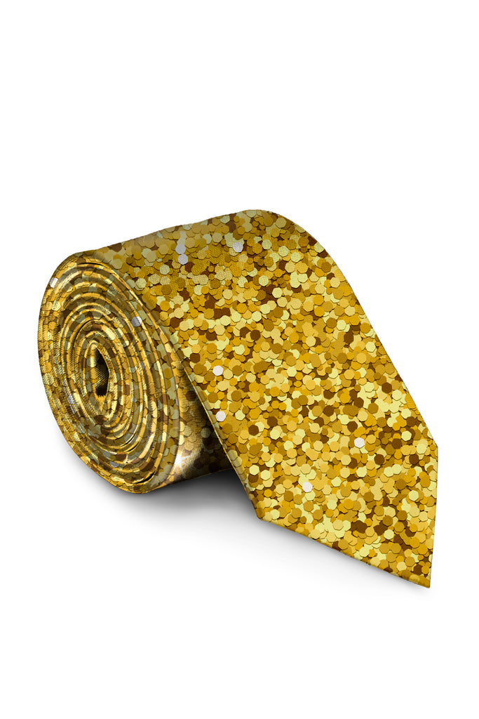 The Gold Dust | NYE Gold Glitter Print Tie