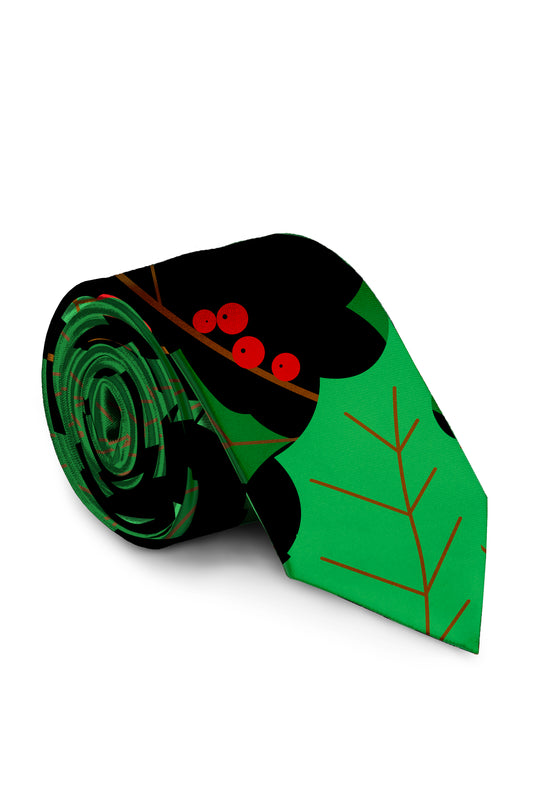 The Deck Yourself Before You Wreck Yourself Holly Print Black and Green Christmas Long Tie