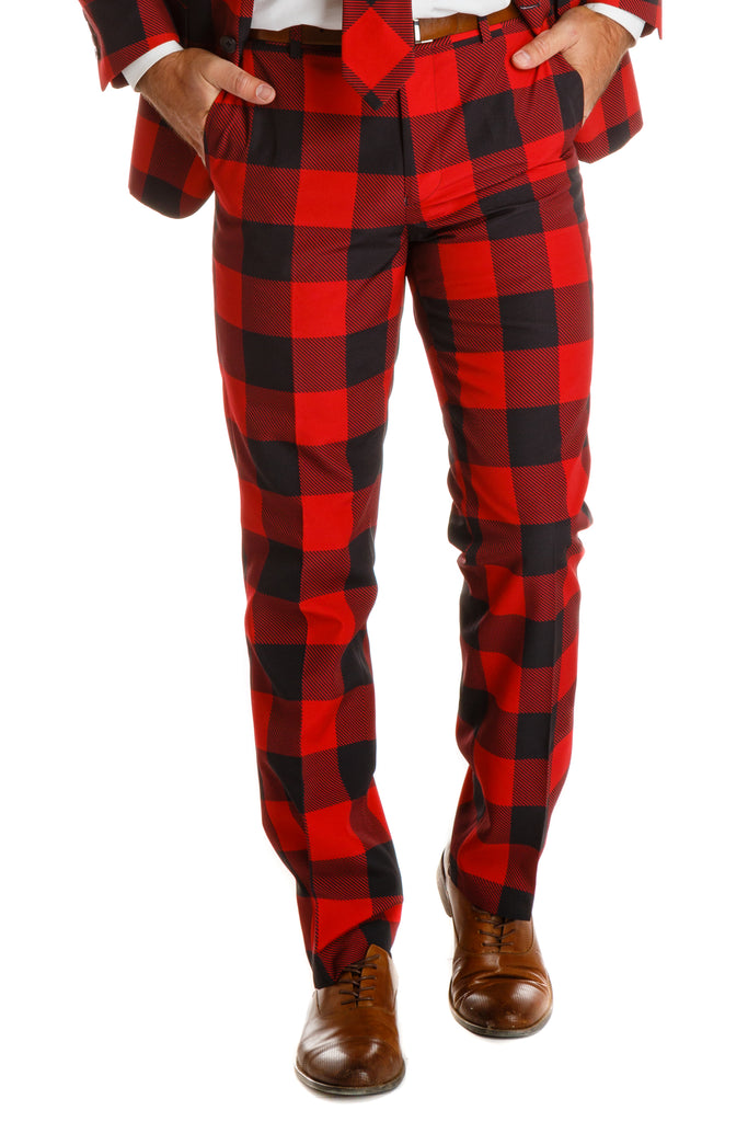 The Red & Black Lumberjack Buffalo Check Plaid Suit Pants