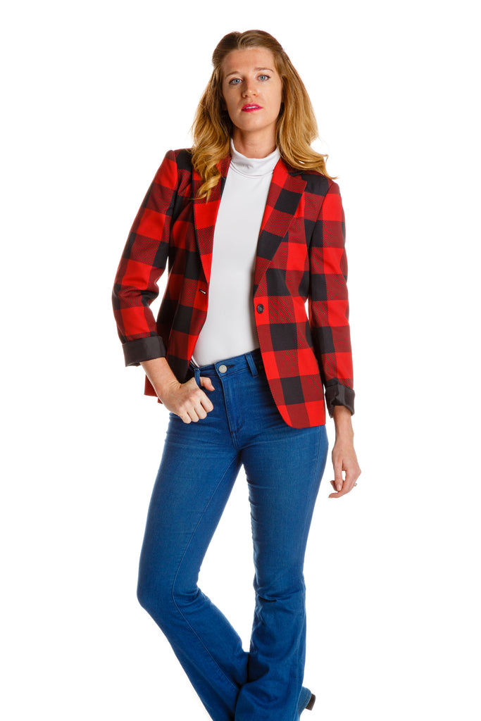 The Red & Black Lumberjack | Buffalo Check Women's Blazer