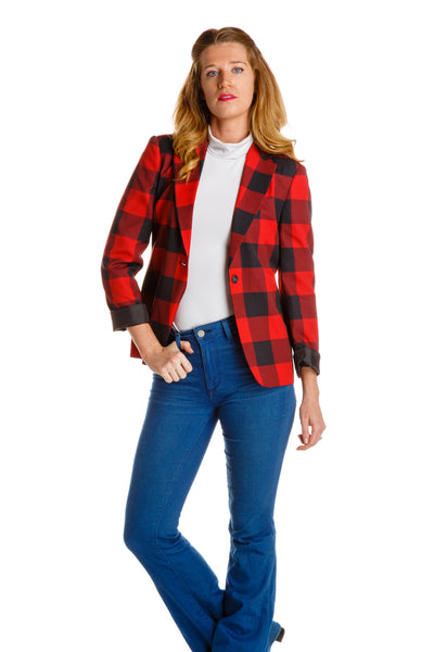 Buffalo Check Boyfriend Blazer for Women