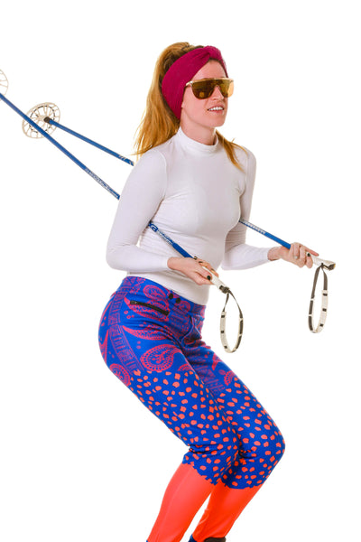 Skiing Model on Green Screen Purple Paisley Women's Stretch Stirrup Ski Pants