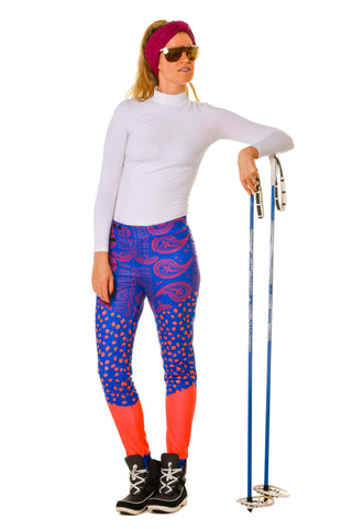 Model Wearing Purple Paisley Stretch Ski Pants With Stirrup