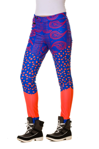 Side of Model Wearing Purple Paisley Ladies Insulated Ski and Snowboard Pants