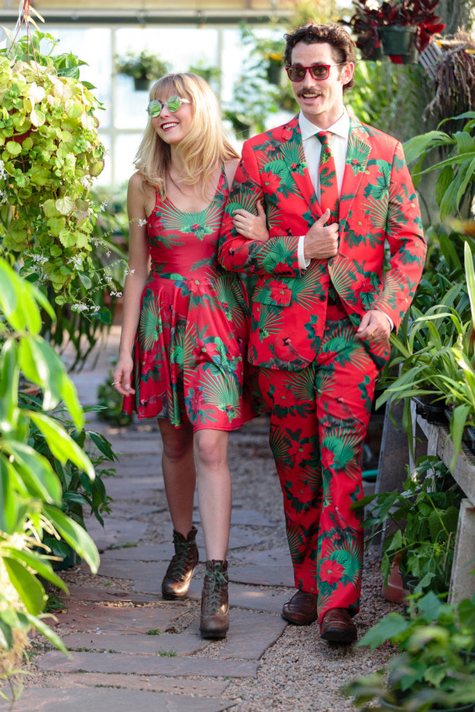 Man Wearing The Mele Kalikimaka Hawaiian Christmas Suit With A Date