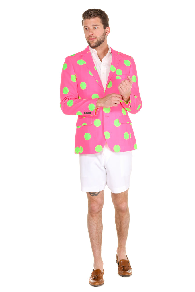 Pink and green polka dot jacket for men