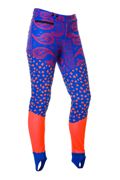 No Model Purple Paisley Ladies Stretch Ski Pants With Strirrup