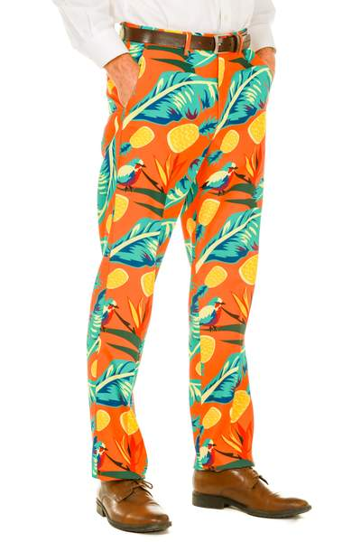 Men's Hawaiian Print Orange Suit Pants