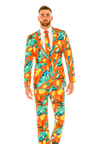Men's Orange Hawaiian Patterned Suit