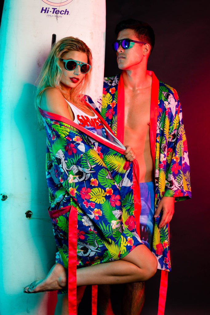Shark Bait | Ladies Neon Shark Hawaiian Kimono