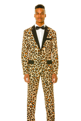 men's leopard print dress suit