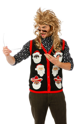 Santas of the World Ugly Christmas Sweater Light Up Vest - Shinesty