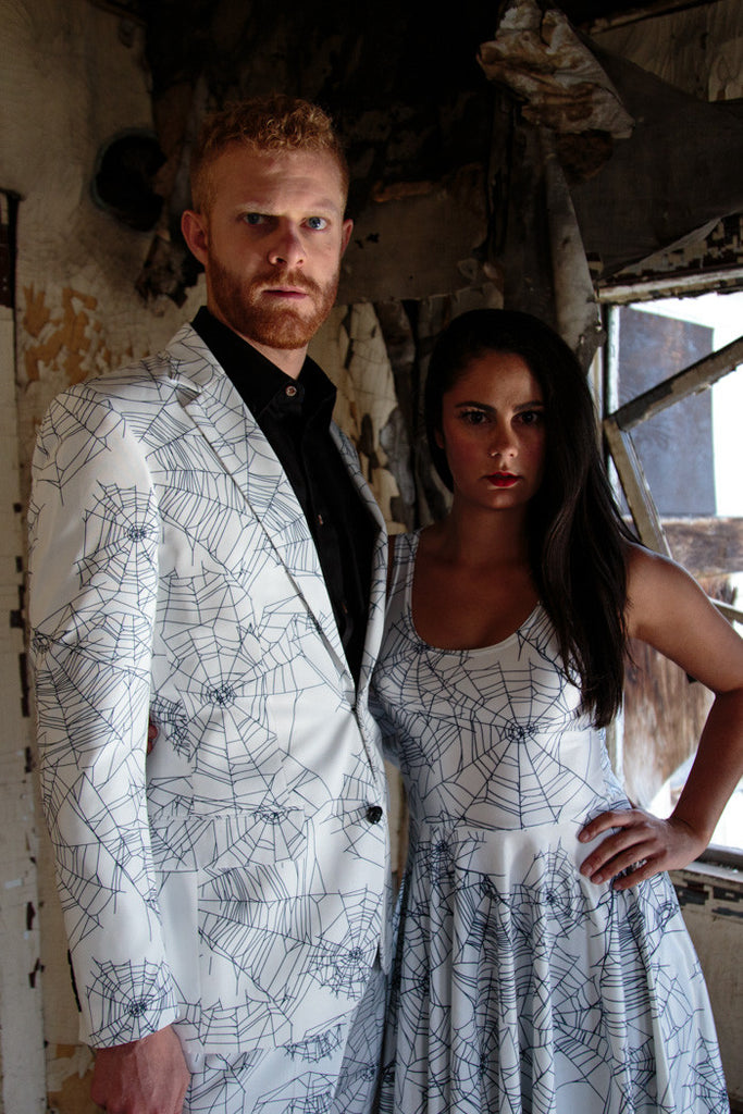 Couples Halloween Dress and Suit Spiderwebs