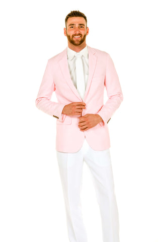 Men's Pink and White Pastel Suit by Shinesty
