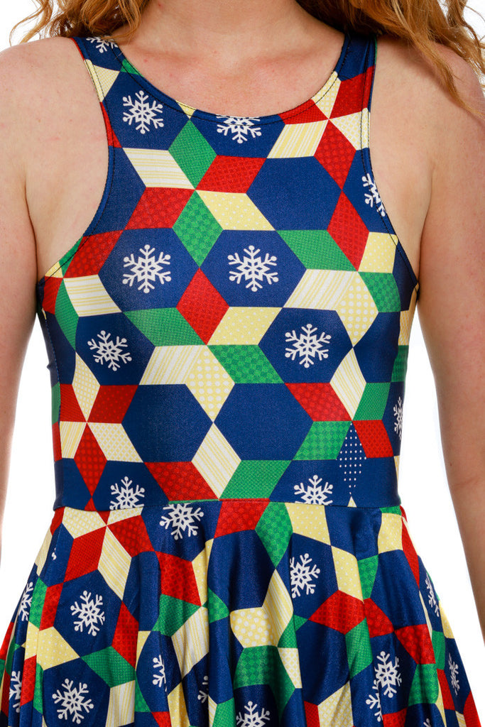 The Holiday Mosaic Ugly Christmas Dress - Shinesty