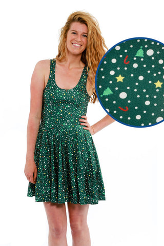 Merry Micro-Print Ugly Christmas Dress - Shinesty