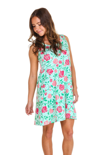 rose print derby day dress