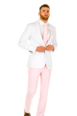 Men's White Jacket Pink Pants Valentines Day Suit