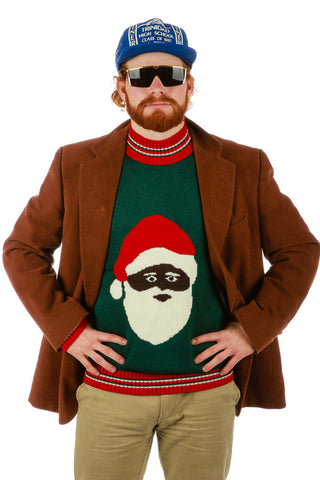 Black Santa Christmas Sweater - Shinesty