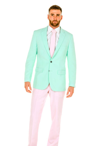 Men's Pink and Mint Green Derby Suit