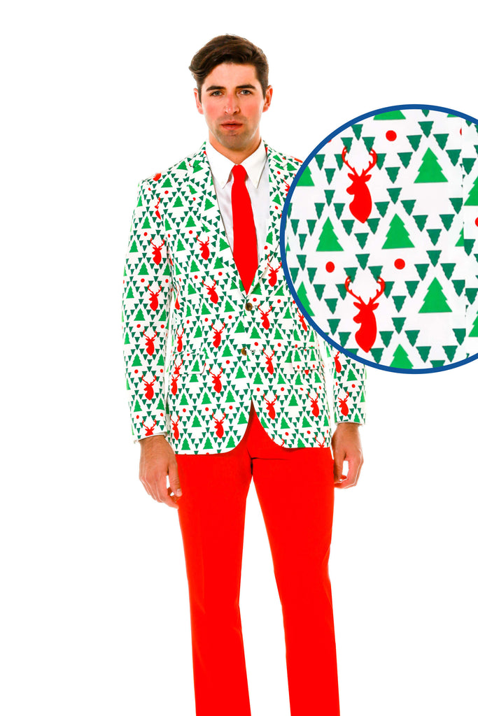 Green reindeer and christmas tree sweater suit the og