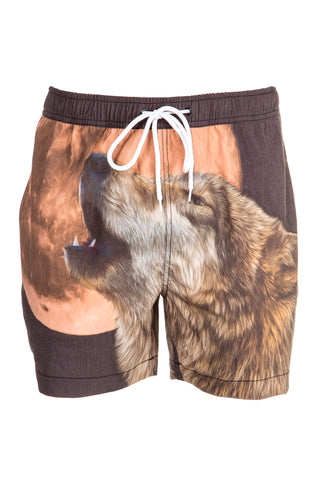 Howling wolf men's swim trunks