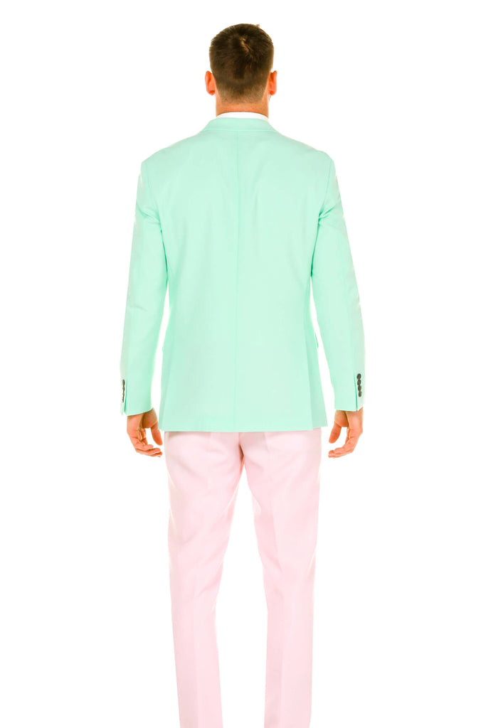 Men's Pink and Mint Green Easter Suit backview