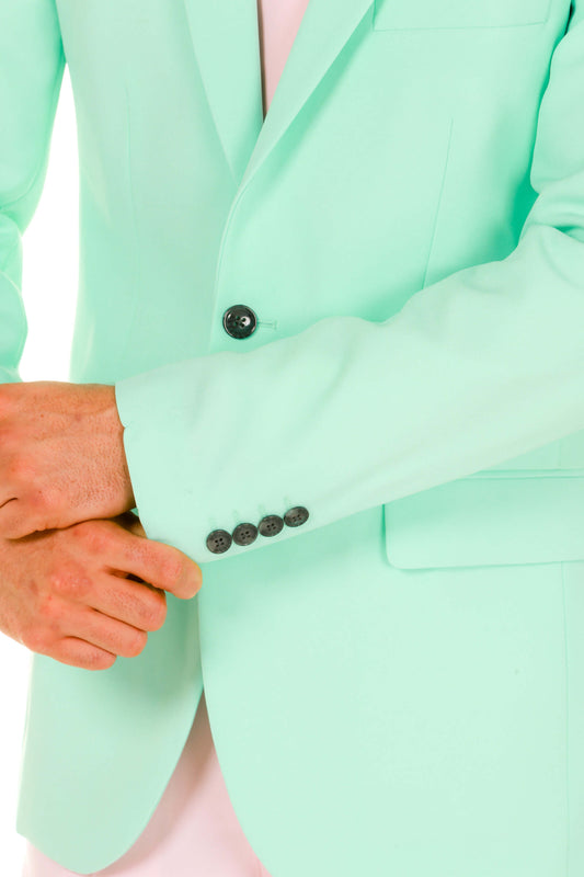 Men's Pink and Mint Green Easter Derby Suit cuff detail